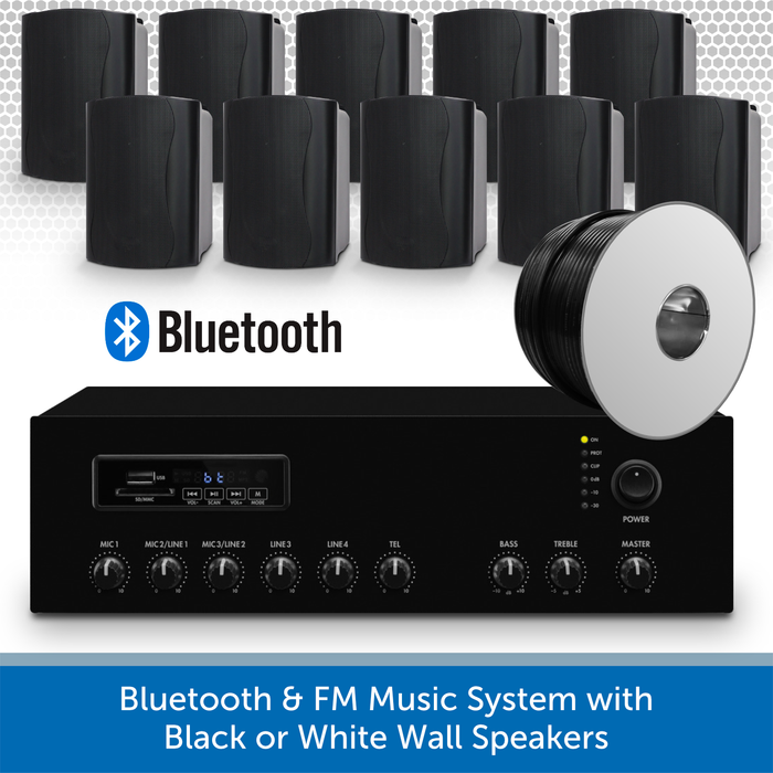 Bluetooth & FM Music System with 10 Black Wall Speakers