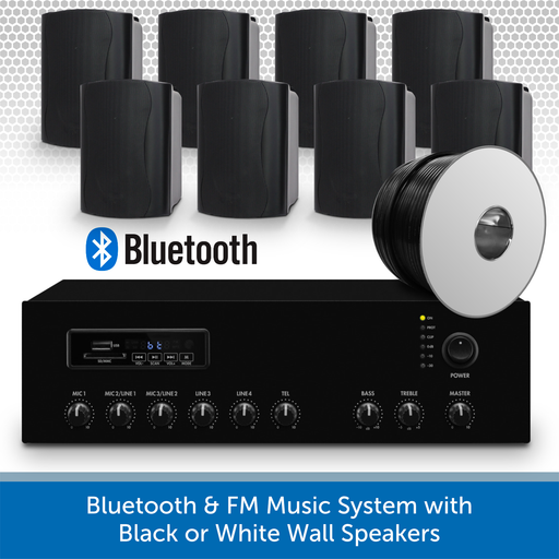 Bluetooth & FM Music System with 8 Black Wall Speakers
