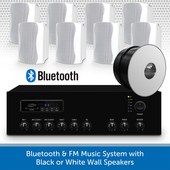 Bluetooth & FM Music System with 8 white Wall Speakers
