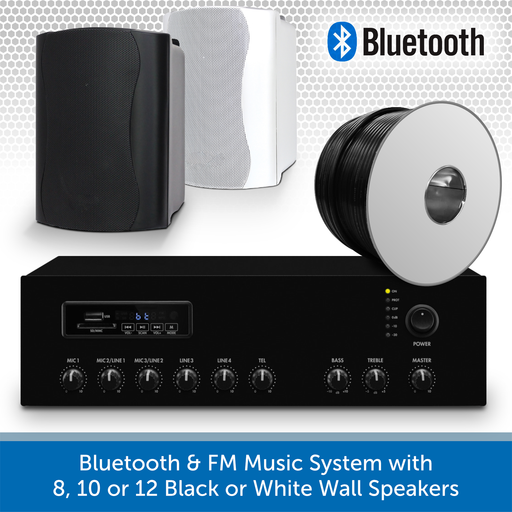 Bluetooth & FM Music System with 8, 10, or 12 Black or White Wall Speakers