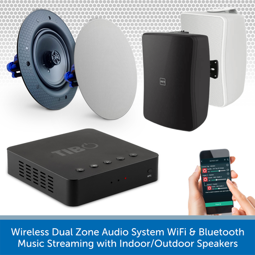 Wireless Dual Zone Audio System WiFi & Bluetooth Music Streaming with Indoor/Outdoor Speakers