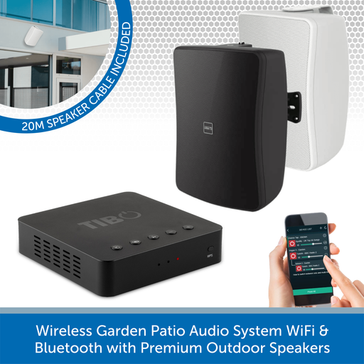 Wireless Garden Patio Audio System WiFi & Bluetooth with Premium Outdoor Speakers