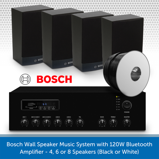 Bosch Wall Speaker Music System with 120W Bluetooth Amplifier - 4 Speakers (Black)