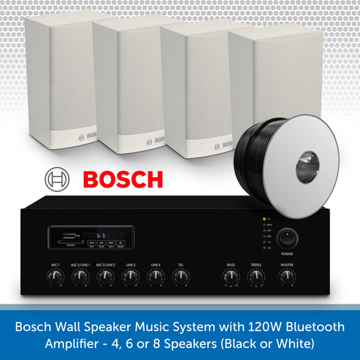 Bosch Wall Speaker Music System with 120W Bluetooth Amplifier - 4 Speakers (White)