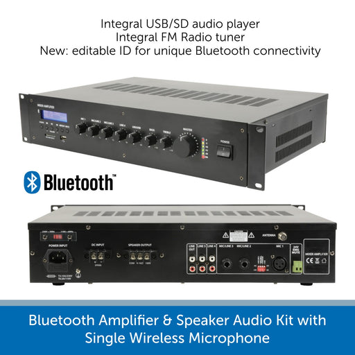 Bluetooth Amplifier & Speaker Audio Kit with Single Wireless Radio Mics