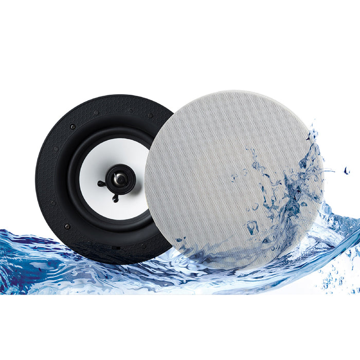 "Lithe Audio 6.5"" 2-Way Passive IP44 Waterproof Ceiling Speakers (Pair)"