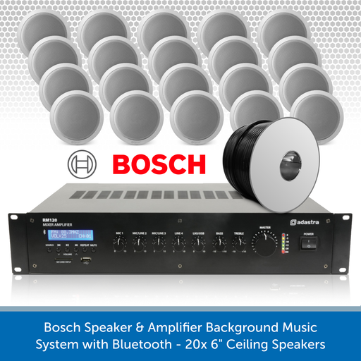 "Bosch Speaker & Amplifier Background Music System with Bluetooth - 20x 6"" Ceiling Speakers"