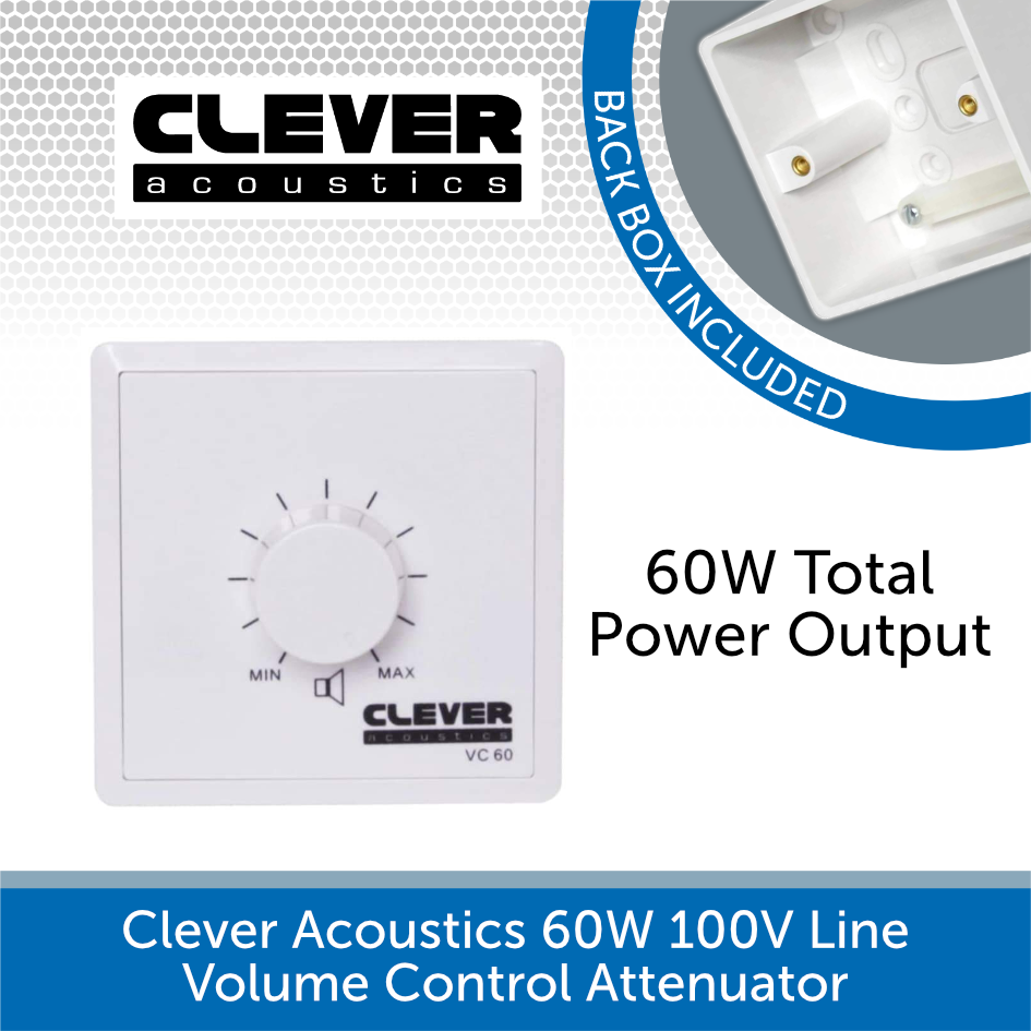 Clever Acoustics 60W 100V Line Volume Control Attenuator with Back Box