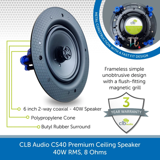 CLB Audio CS40 Premium Ceiling Speaker | 40W RMS, 8 Ohms