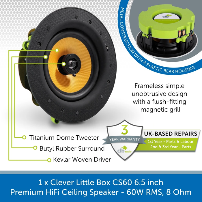 CLB Audio CS60 6.5 inch Premium HiFi Ceiling Speaker - 60W RMS, 8 Ohm