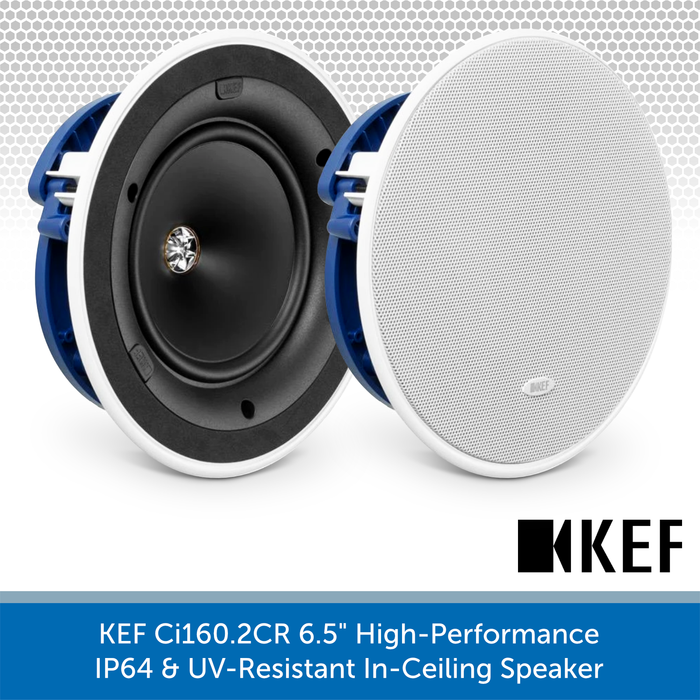 "KEF Ci160.2CR 6.5"" High-Performance IP64 In-Ceiling Speaker"