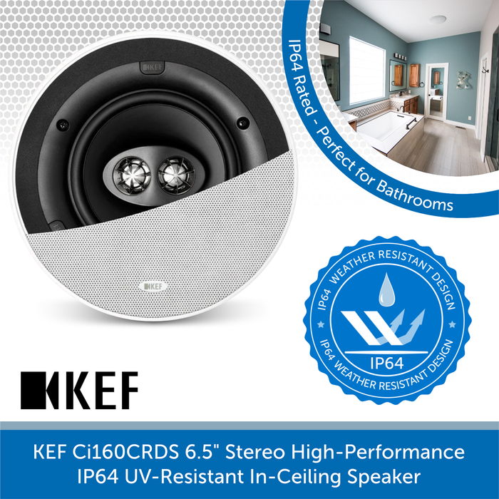 "KEF Ci160CRDS 6.5"" Stereo High-Performance IP64 In-Ceiling Speaker"