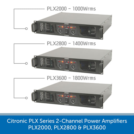 Showing the front of a Citronic PLX Series 2-Channel Power Amplifiers - PLX2000, PLX2800 & PLX3600