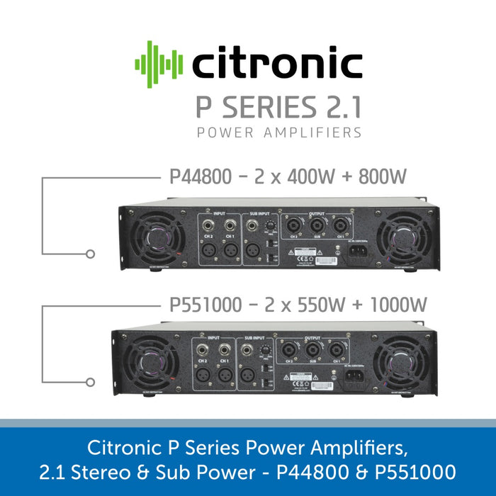 Showing the back of a Citronic P Series Power Amplifiers, 2.1 Stereo & Sub Power - P44800 & P551000