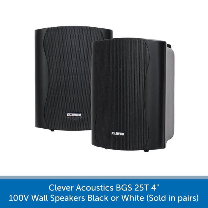 "Clever Acoustics BGS 25T 4"" 100V Wall Speakers (Pair)"