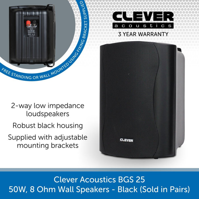 Clever Acoustics BGS 25 50W 8 Ohm Wall Speakers, Black (Pair)