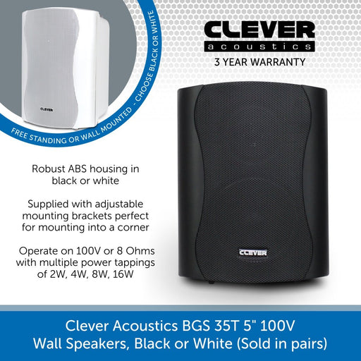 "Clever Acoustics BGS 35T 5"" 100V Wall Speakers, Black or White (Sold in pairs)"