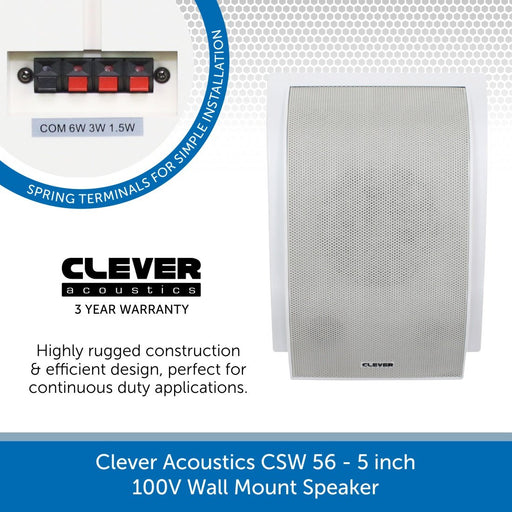 "Clever Acoustics CSW 56 5"" 100V Wall Mount Speaker"