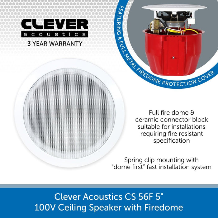 "Clever Acoustics CS 56F 5"" 100V Ceiling Speaker with Firedome"