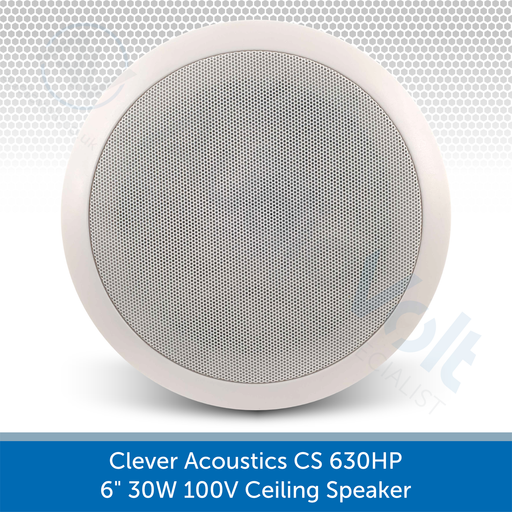 "Clever Acoustics CS 630HP 6"" 30W 100V Ceiling Speaker AUDIOVOLT"