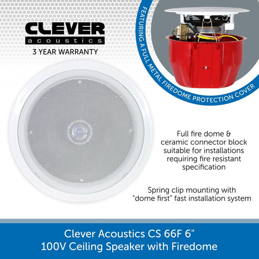 "Clever Acoustics CS 66F 6"" 100V Ceiling Speaker with Firedome"
