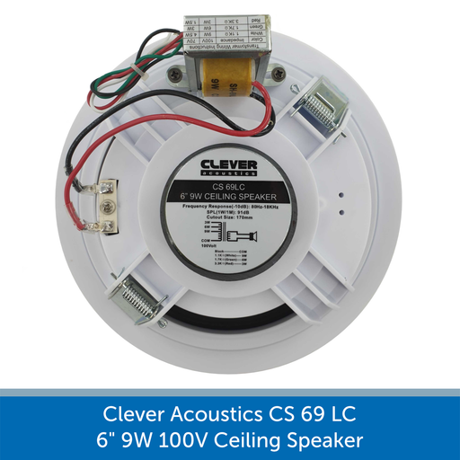 "Clever Acoustics CS 69 LC 6"" 9W 100V Ceiling Speaker REAR AUDIOVOLT"