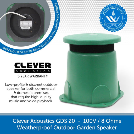 Clever Acoustics GDS 20 Weatherproof Outdoor Garden Speaker, 100V / 8 Ohms