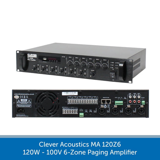 Clever Acoustics MA 120Z6 120W 100V 6-Zone Paging Amplifier