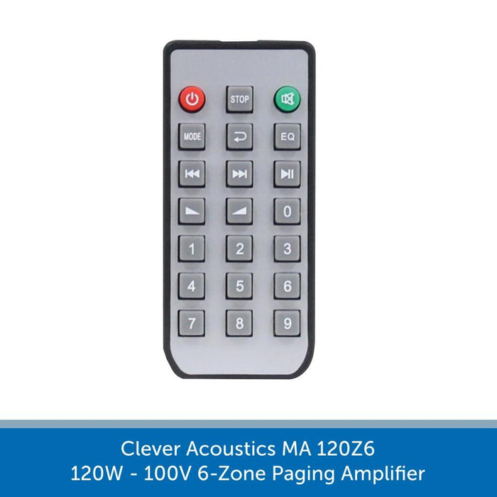 Remote for a Clever Acoustics MA 120Z6 120W 100V 6-Zone Paging Amplifier
