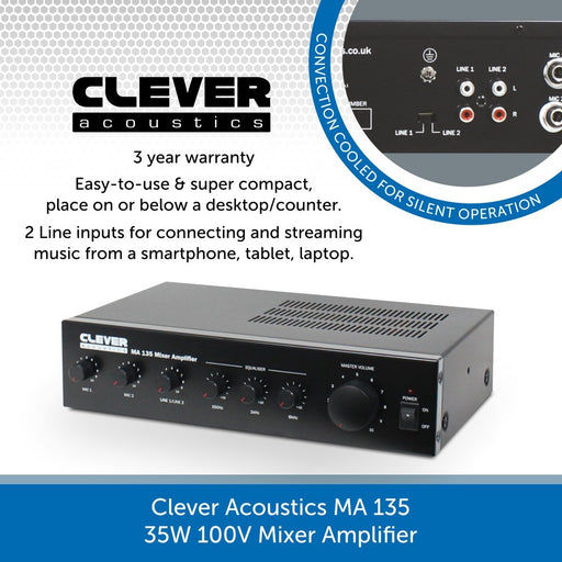 Clever Acoustics MA 135 35W 100V Mixer Amplifier