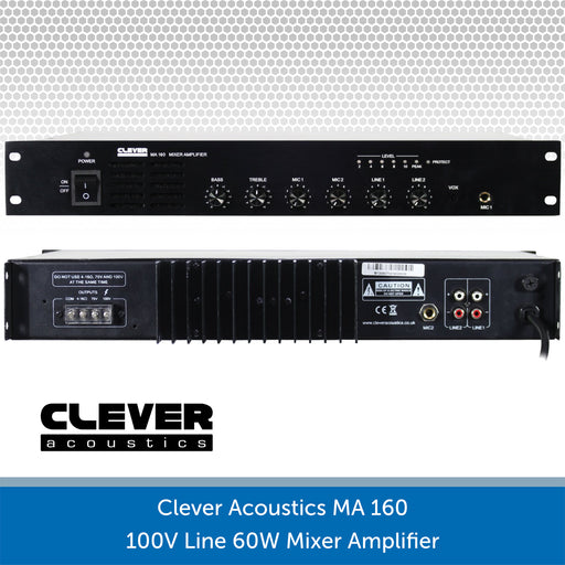 Clever Acoustics MA 160 100V Line 60W Mixer Amplifier Rear connections