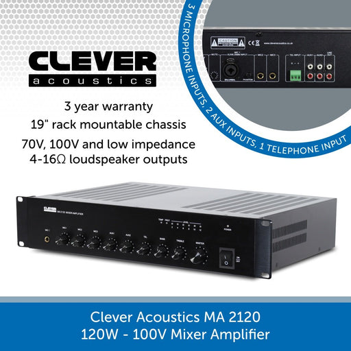 Clever Acoustics MA 2120 120W 100V Mixer Amplifier