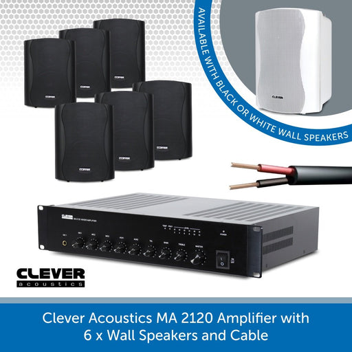 Clever Acoustics MA 2120 Amplifier with 6x Wall Speakers and Cable