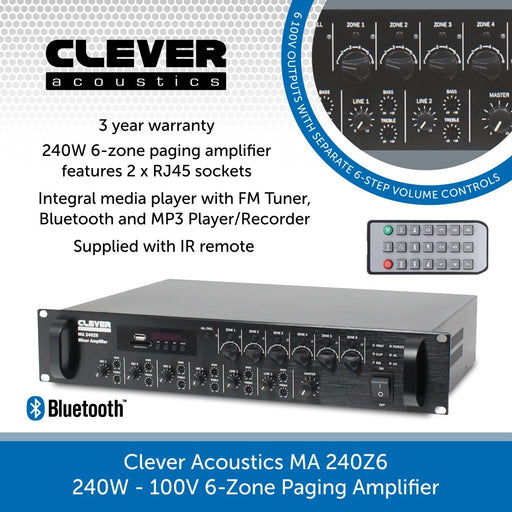 Clever Acoustics MA 240Z6 240W 100V 6-Zone Paging Amplifier