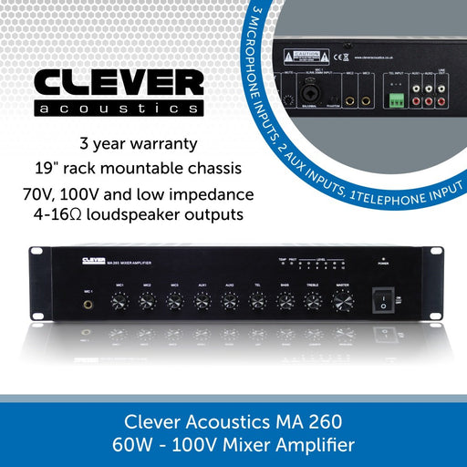 Clever Acoustics MA 260 60W 100V Mixer Amplifier
