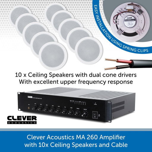 Clever Acoustics MA 260 Amplifier with 10x Ceiling Speakers and Cable