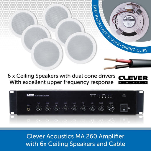 Clever Acoustics MA 260 Amplifier with 6x Ceiling Speakers and Cable