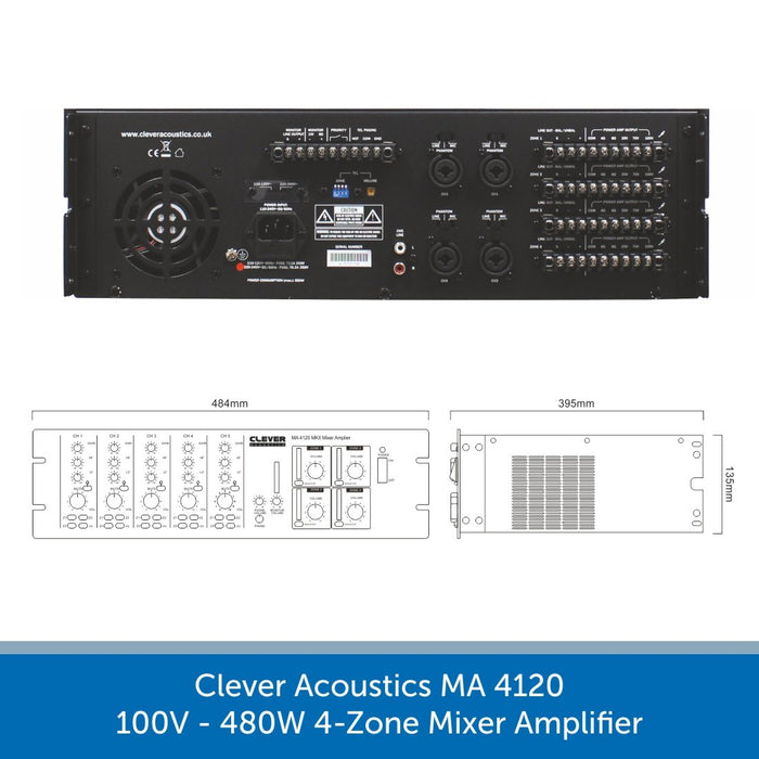 Clever Acoustics MA 4120 100V 480W 4-Zone Mixer Amplifier