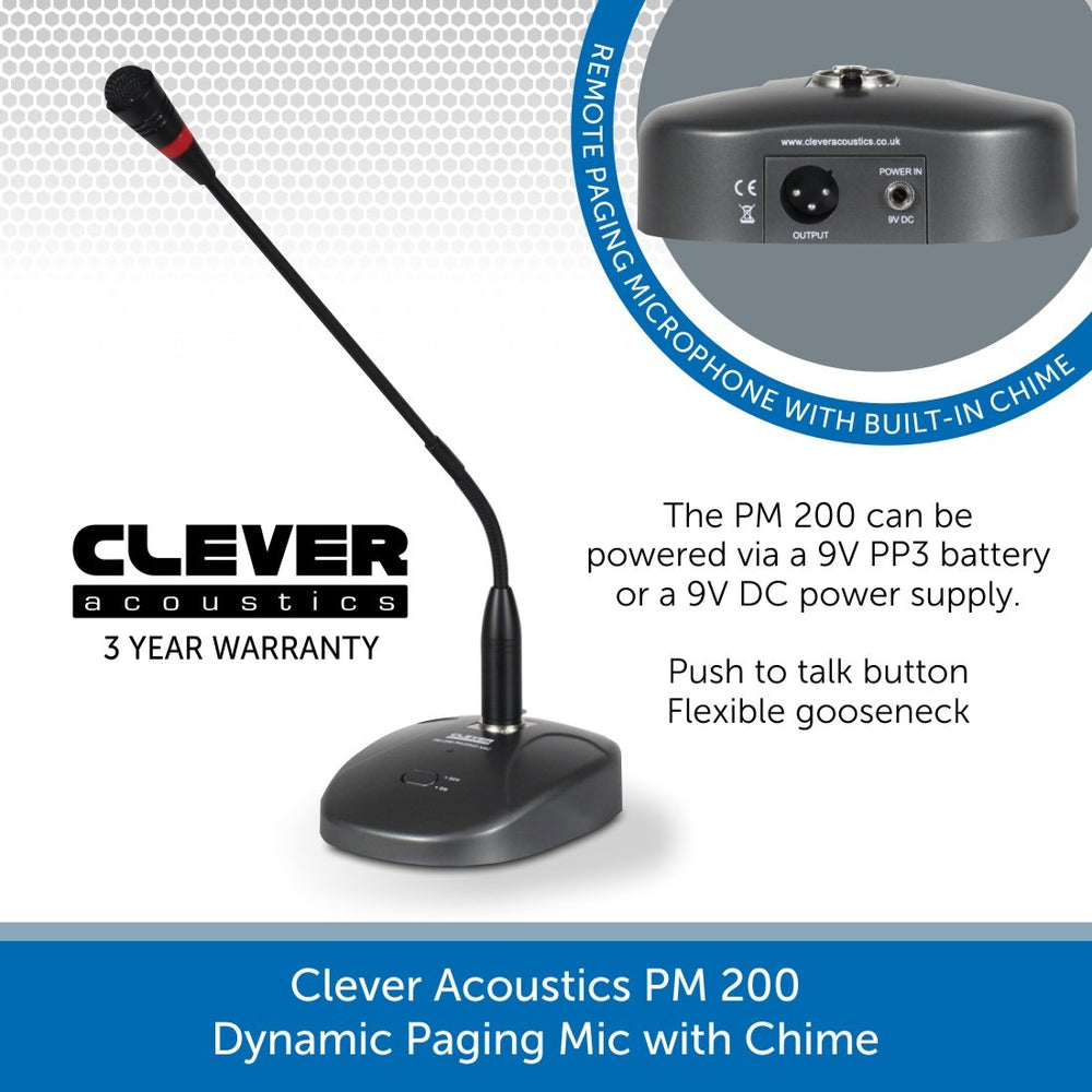 Clever Acoustics PM 200 Dynamic Paging Mic with Chime