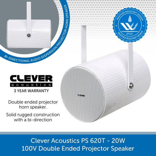 Clever Acoustics PS 620T 20W 100V Double Ended Projector Speaker