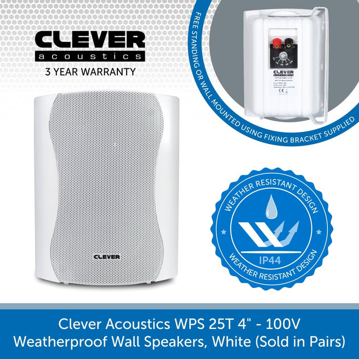 "Clever Acoustics WPS 25T 4"" 100V Weatherproof Wall Speakers, White (Pair)"