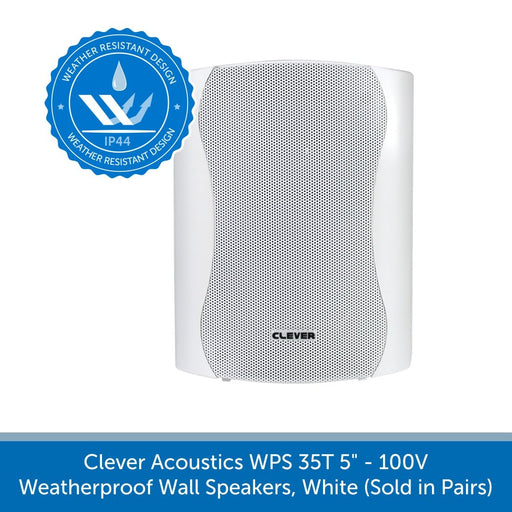 "Clever Acoustics WPS 35T 5"" 100V Weatherproof Wall Speakers, White (Pair)"
