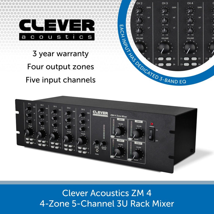 Clever Acoustics ZM 4 4-Zone 5-Channel 3U Rack Mixer