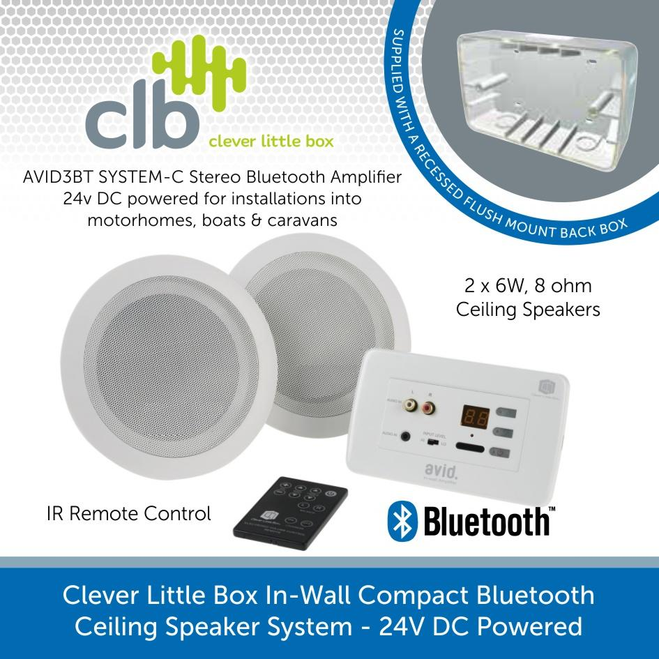 Clever Little Box Avid3 System C 2 Speaker In Wall Bluetooth Background Music System 24v Dc Powered