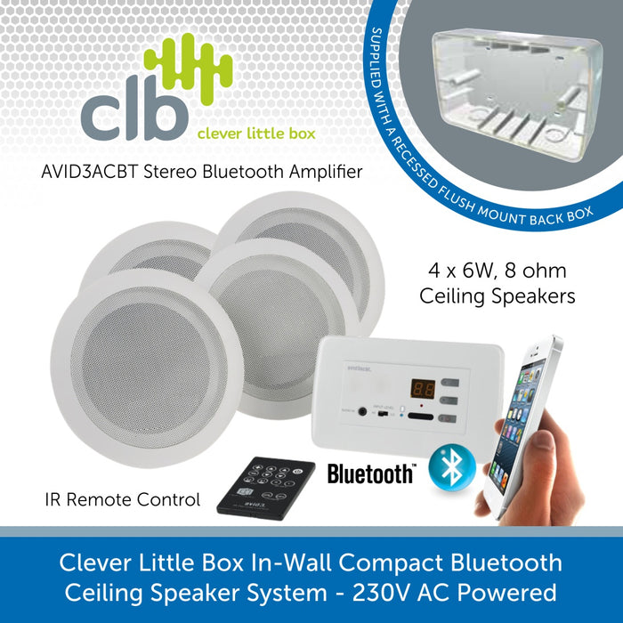 Clever Little Box In-Wall Compact Bluetooth Background Music System with x 4 6W Ceiling Speakers