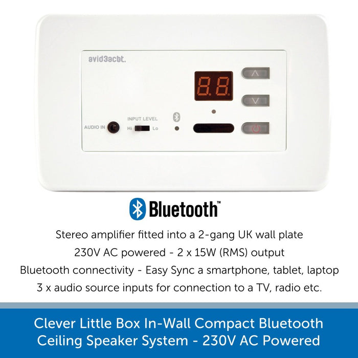 Clever Little Box In-Wall Compact Bluetooth Ceiling Speaker System - 230V AC Powered