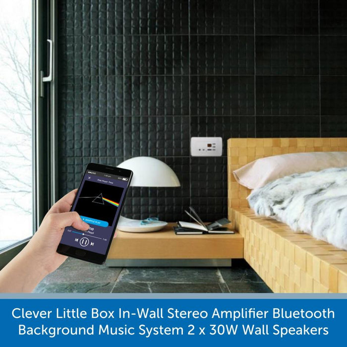 Clever Little Box In-Wall Stereo Amplifier Bluetooth Background Music System 2 x 30W Wall Speakers