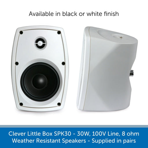 Clever Little Box SPK30 - 30W, 100V Line, 8 ohm Weather Resistant Speakers x 2