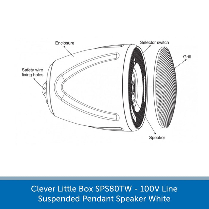 Clever Little Box SPS80TW - 100V Line Suspended Pendant Speaker White