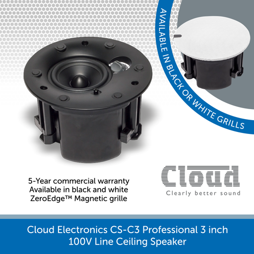 Cloud Electronics CS-C3W & CS-C3B Professional 100V Line Ceiling Speaker